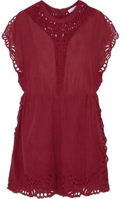 IRO Broderie Anglaise-Paneled Voile Mini Dress