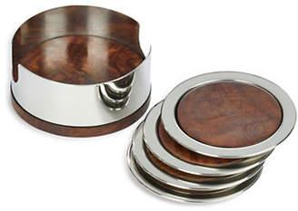 GLUCKSTEINHOME 5 Piece Stainless Steel Coaster Set