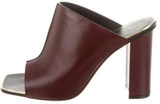 CelineCéline Leather Peep-Toe Mules w/ Tags