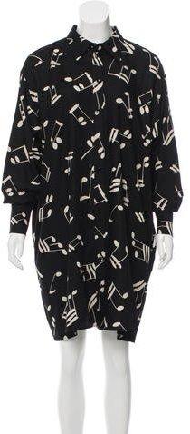 Saint LaurentSaint Laurent Music Note Print Shirt Dress