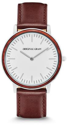 ORIGINAL GRAIN Men's Minimalist Leather Strap Watch, 40mm