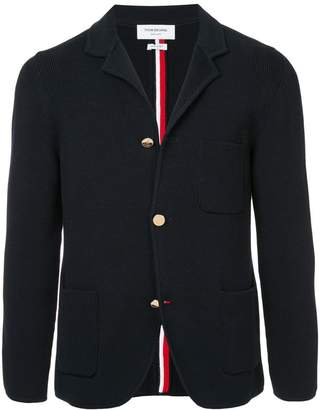 Thom Browne Sport Coat With Milano Stitch And Red, White And Blue Intarsia Stripe In Cotton Crepe