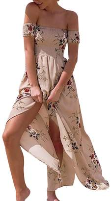 Bardot Ruiyige Womens Sexy Summer Off the Shoulder Floral Printed Slit Strapless Maxi Beach Bohemian Dresses
