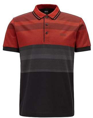 HUGO BOSS Slim-fit polo shirt with engineered stripes