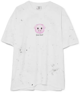Vetements Printed Cotton-jersey T-shirt - White