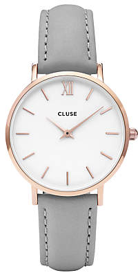 Cluse CL30002 Women's Minuit Rose Gold Leather Strap Watch, Grey/White