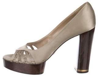 Stella McCartney Satin Peep-Toe Pumps