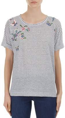 Gerard Darel Priscilla Embroidered Striped Linen Top