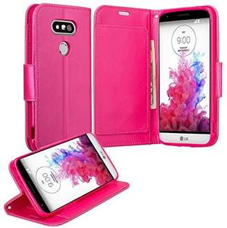 LG Electronics Coverlab G5 Case, Wrist Strap Double Fold Faux Leather Magnetic Flip Fold[Kickstand] Wallet Cover with ID and Card Slots for G 5 - Hot Pink