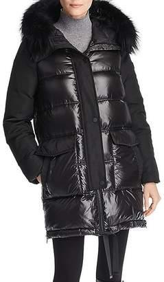 Derek Lam 10 Crosby Fur Trim Mixed Media Coat
