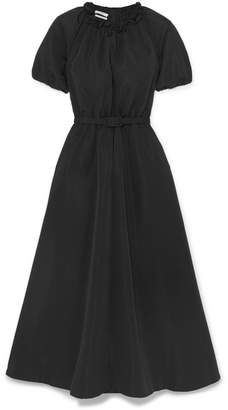Co Belted Faille Midi Dress - Black