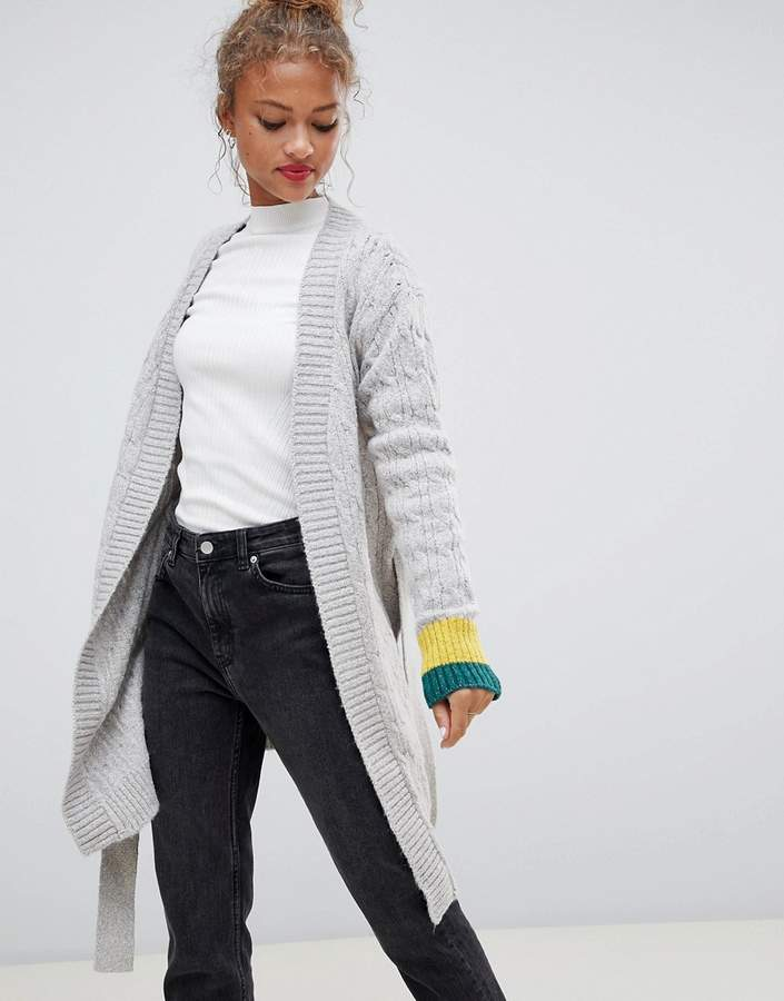 Jilly sporty stripe cuff wrap wool blend cardigan