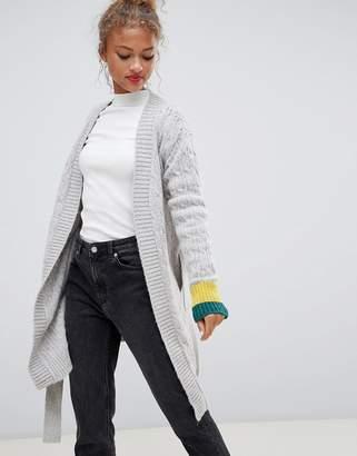Blend She Jilly sporty stripe cuff wrap wool blend cardigan