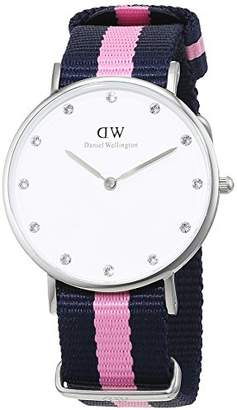 Daniel Wellington Women's Quartz Watch with White Dial Analogue Display and Multicolour Nylon Strap 0962DW