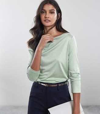 Reiss MARILYN STRAIGHT NECK TOP Apple Green