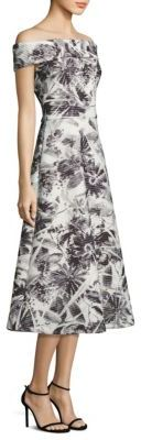 Theia Floral Printed Off-the-Shoulder Tea Dress $795 thestylecure.com