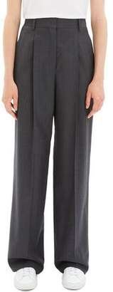 Theory Pleated Wool Wide-Leg Trousers
