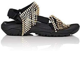 Area Women's Crystal-Fringed Nylon Sandals - Black