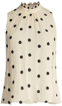 Rebecca Taylor Embroidered Polka Dot Silk Chiffon Blouse