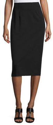 Eileen Fisher High-Waist Ponte Pencil Midi Skirt, Black $99 thestylecure.com