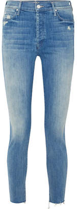 Mother The Stunner Distressed High-rise Skinny Jeans - Mid denim