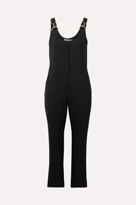 Stella McCartney Cropped Embellished Stretch-cady Jumpsuit - Black
