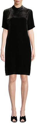 Eileen Fisher Mock-Neck Short-Sleeve Tieback Velvet Shift Dress