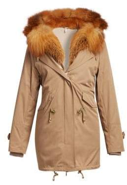 The Fur Salon Fox Fur-Trim& Rabbit Fur-Lined Parka