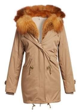 The Fur Salon The Fur Salon Women's Fox Fur-Trim& Rabbit Fur-Lined Parka - Camel - Size Small