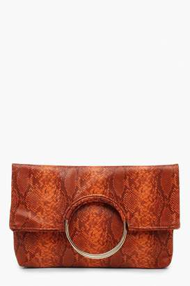 boohoo Faux Snake Ring Clutch With Chain