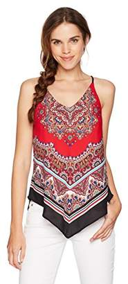 Amy Byer A. Byer Junior's Young Women's Teen Halter Style Cami Top with V Hemline
