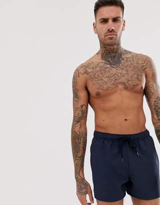 Asos Design DESIGN swim shorts in navy short length