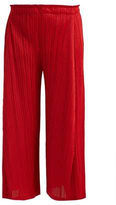 Pleats Please Issey Miyake Skew Pleated Wide Leg Cropped Trousers - Womens - Red