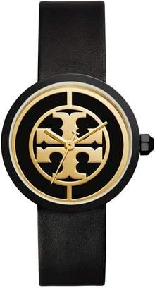 Tory Burch The Reva Luggage Goldtone Black Leather Watch
