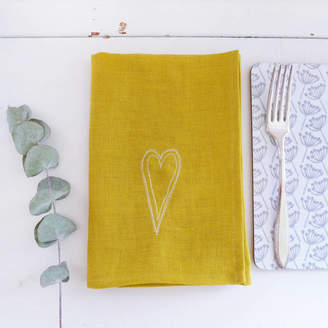 Charlotte Macey Embroidered Scandi Heart Linen Napkins