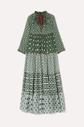 Yvonne S Hippy Tiered Printed Cotton-voile Maxi Dress - Dark green