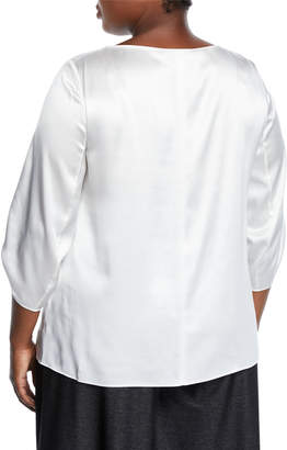 Lafayette 148 New York Elisio Ruched 3/4-Sleeve Silk Blouse, Plus Size