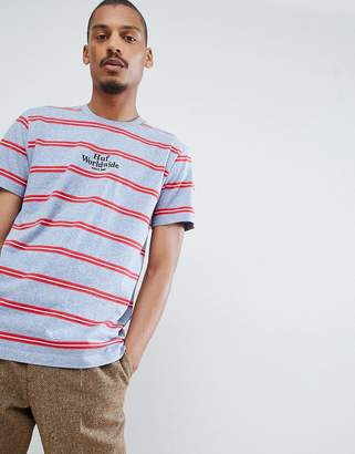 HUF Golden Gate Stripe T-Shirt With Embroidered Logo In Blue