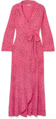 Ganni Barra Printed Crepe De Chine Wrap Maxi Dress - Pink