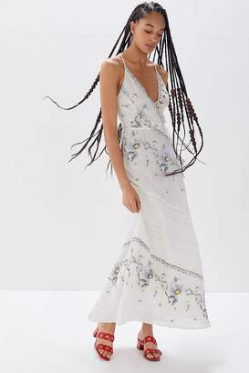 Urban Outfitters Jolene Embroidered Cutout Maxi Dress