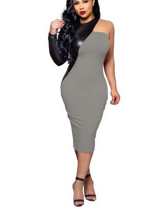 004feeb8c Mycherish Latex Dresses for Women Sexy Halter Neck One Shoulder PU Faux  Leather Long Sleeve Bodycon