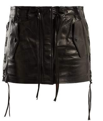 Saint Laurent Laced Leather Skirt - Womens - Black