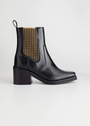 And other stories Houndstooth Elastic Leather Boots