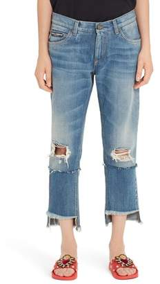Dolce & Gabbana Ripped Crop Step Hem Jeans