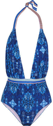 Matthew Williamson Printed Halterneck Swimsuit - Blue