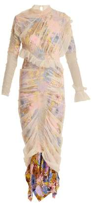 Preen by Thornton Bregazzi Viola Layered Floral Print Tulle And Silk Dress - Womens - Beige Multi