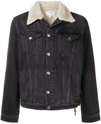 Frame faux fur trim denim jacket