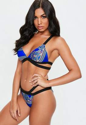 Missguided Blue Paisley Print Double Crossover Strap Bikini Top