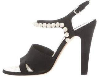 Chanel Faux-Pearl Ankle-Strap Sandals