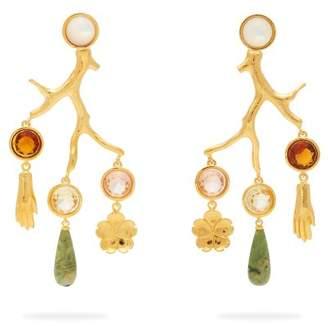 Lizzie Fortunato Relic Crystal Embellished Chandelier Earrings - Womens - Multi